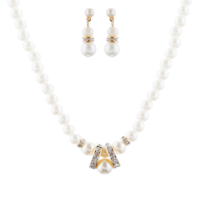 Bridal Wedding Jewelry Set Beautiful Single Strand Pearls Chic Necklace Gold