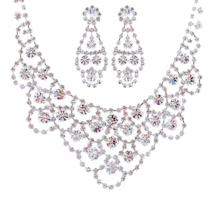 Bridal Wedding Jewelry Set Crystal Rhinestone Classic Bib Drop Necklace Silver