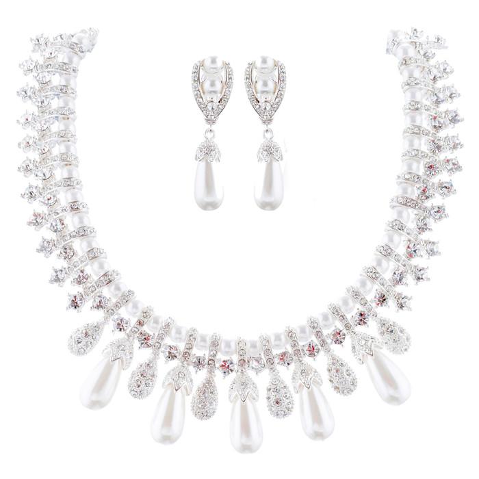 Bridal Wedding Jewelry Set Crystal Pearl Vintage Teardrop Clip-On