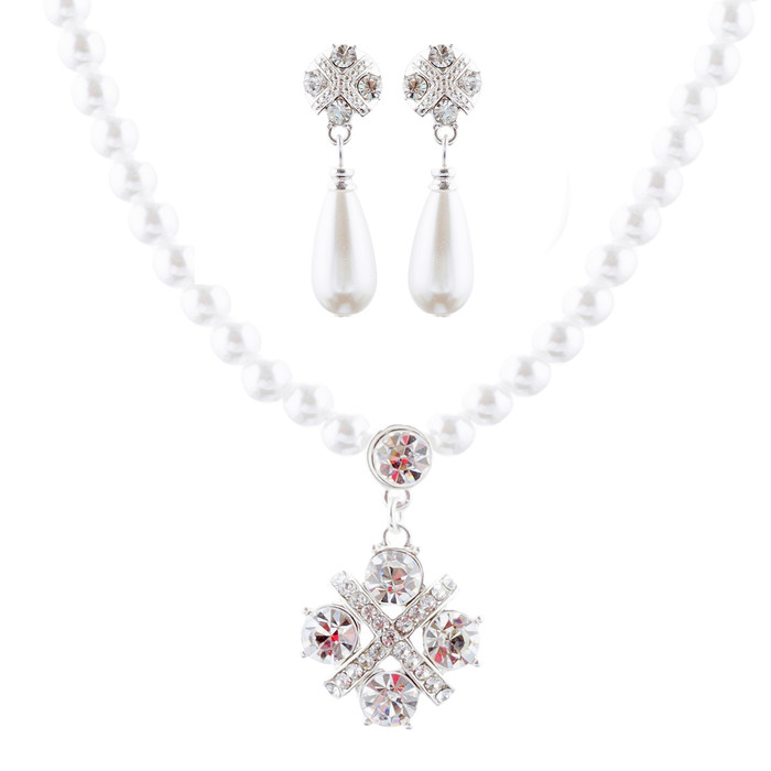 Bridal Wedding Jewelry Set Crystal Rhinestone Pearl Simple Chic Design Necklace