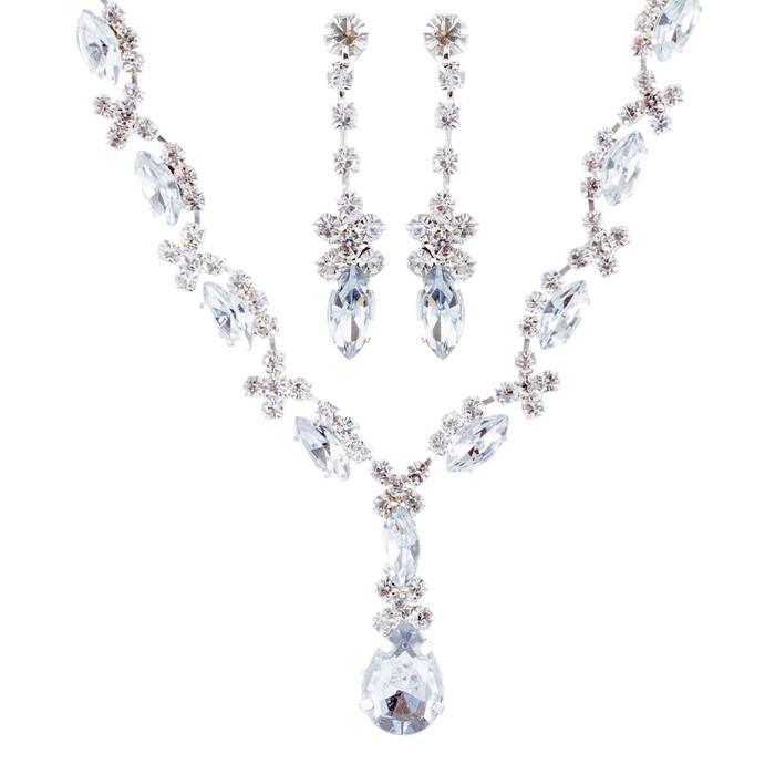 Bridal Wedding Jewelry Set Crystal Rhinestone Patterned Beautiful Necklace SV
