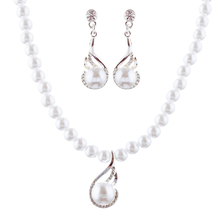 Bridal Wedding Jewelry Set Crystal Pearl Exquisite Necklace Silver