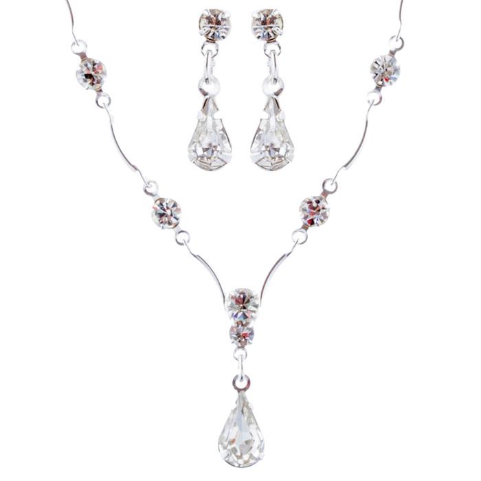 Bridal Wedding Jewelry Set Crystal Rhinestone Classy Y Drop Necklace Silver