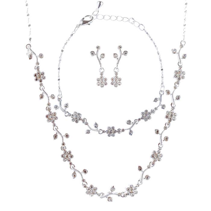 Bridal Wedding Jewelry Set with Crystal Rhinestone Simple Soft Linear Drop Necklace