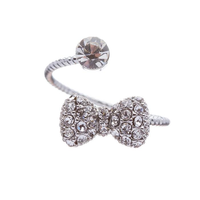 Fashion Gorgeous Ribbon Bow Tie Dazzle Crystal Rhinestone Adjustable Ring Silver