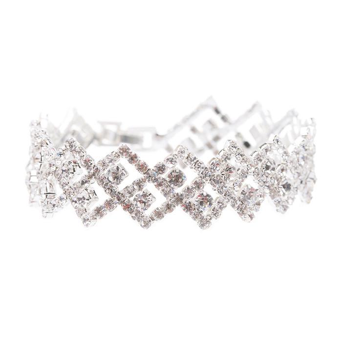 Bridal Wedding Jewelry Crystal Rhinestone Zig Zagged Dazzle Fashion Bracelet