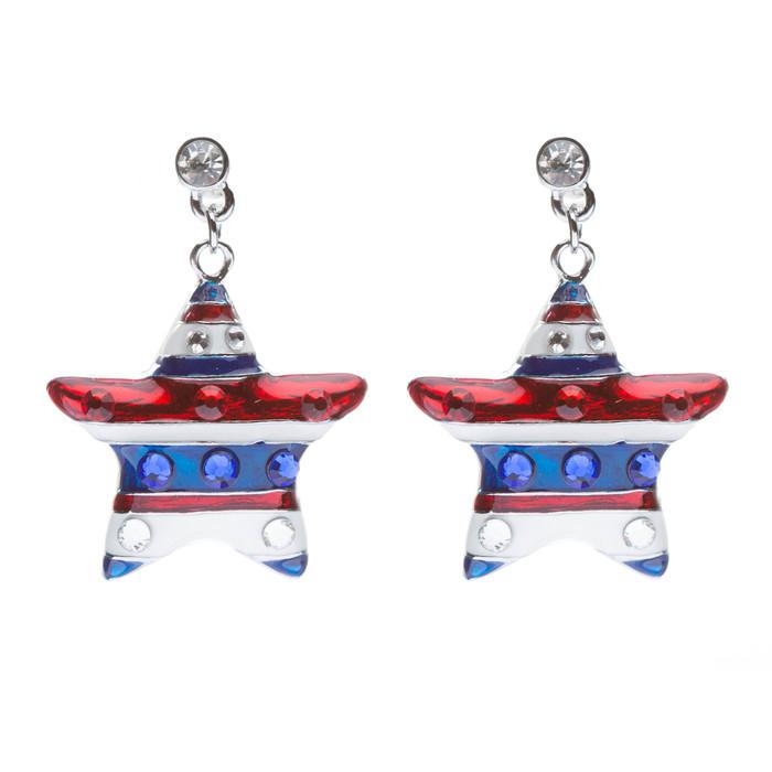 Patriotic American Flag Crystal Rhinestone Sparkle Star Dangle Earrings Silver