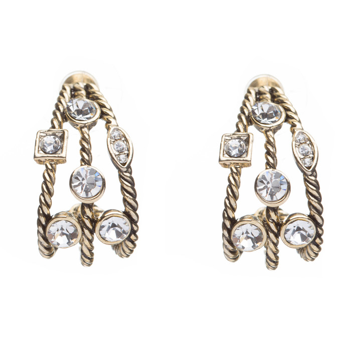 Fashion Trendy Chic Crystal Rhinestone Stylish Sparkle Hoop Earrings Gold