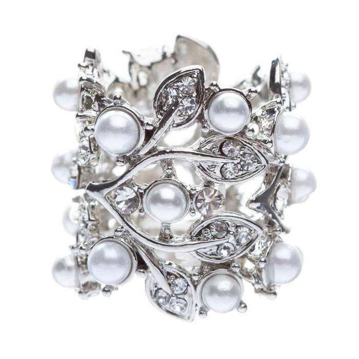 Bridal Wedding Jewelry Crystal Rhinestone Pearl Leaf Fashion Stretch Ring Silver