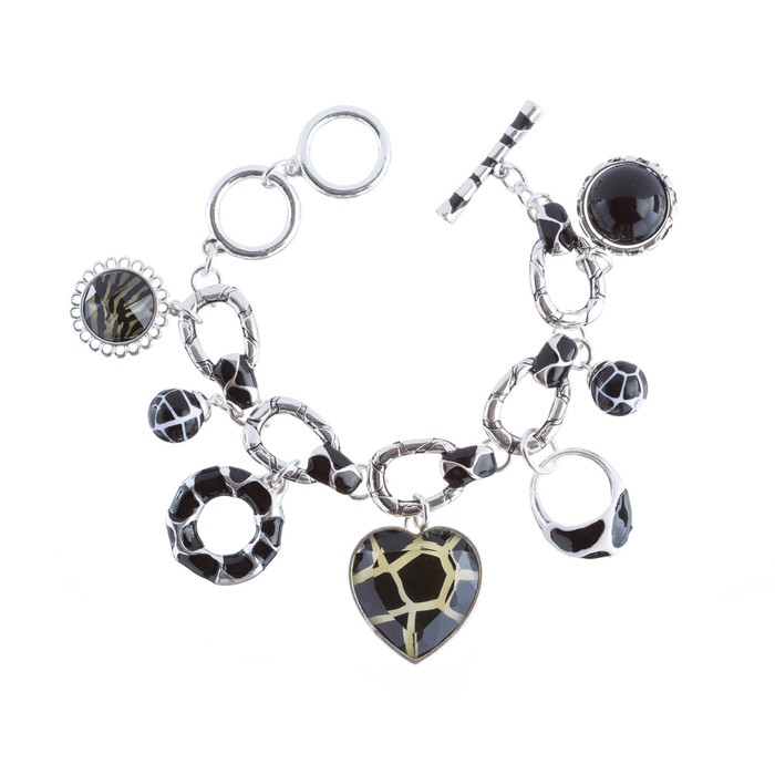 Beautiful Beads Heart Animal Print Charm Link Fashion Bracelet Black