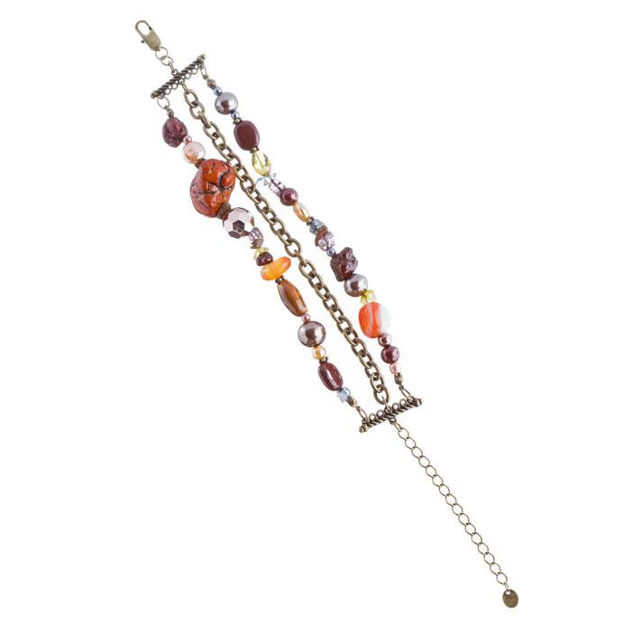 Beautiful Trendy Beads Design Link Fashion Bracelet Antique Brown