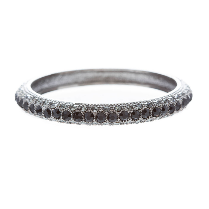 Beautiful Stunning Crystal Rhinestones Metal Bangle Bracelet Antique Black Gray