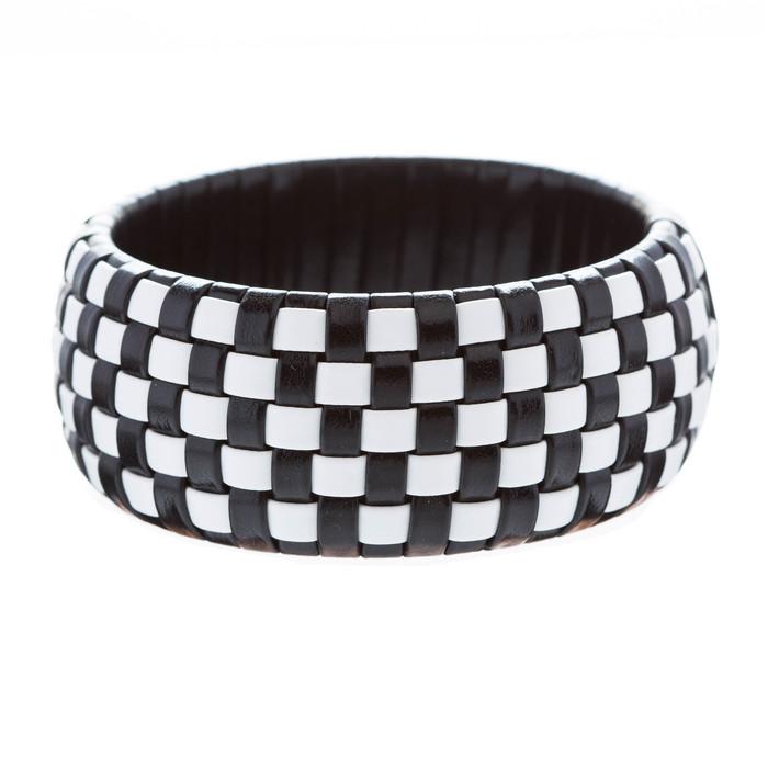 Fashion Trendy Classic Beautiful Leatherette Checker Design Bangle Bracelet