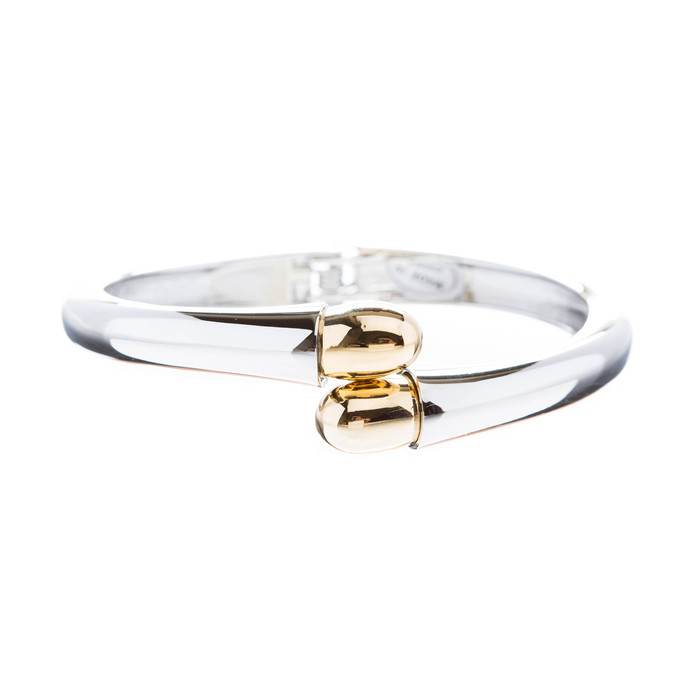 Fashion Simple Beautiful Two Tone Stylish Bangle Bracelet Gold Silver