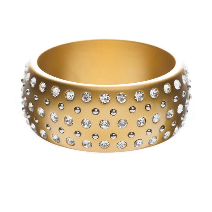 Stunning Sparkle Crystal Rhinestone Studs Wide Fashion Bangle Bracelet Gold