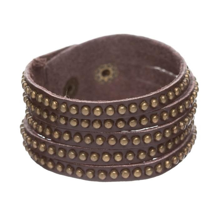 Trendy Metal Studs Style Genuine Leather Fashion Wrap Bracelet Silver Brown