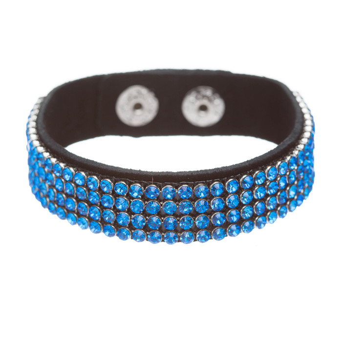 Simple Liner Sparkle Crystal Rhinestone Faux Leather Wrap Fashion Bracelet Blue