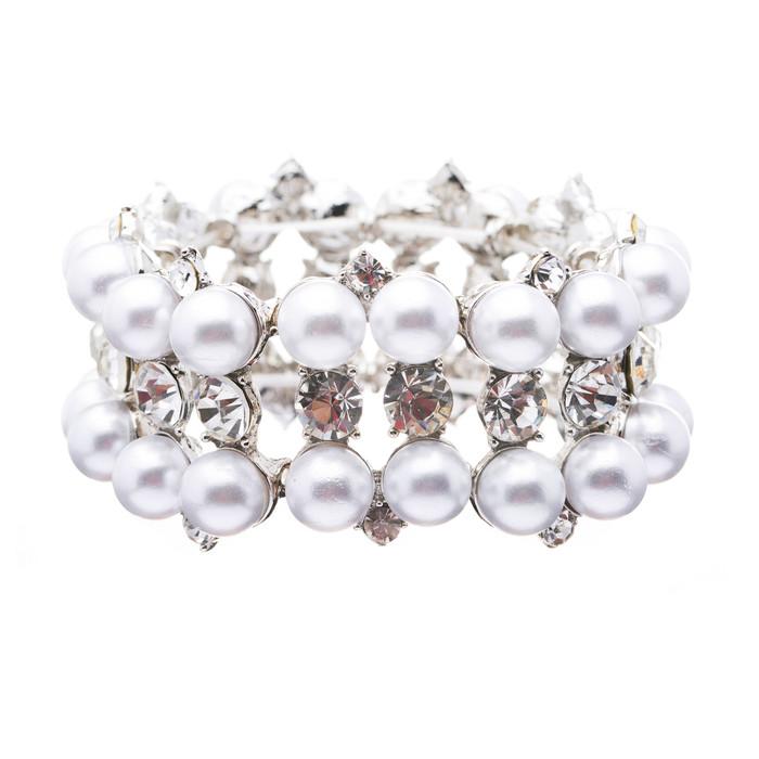 Bridal Wedding Jewelry Set Crystal Rhinestone Pearl Classic Stretch Bracelet WT