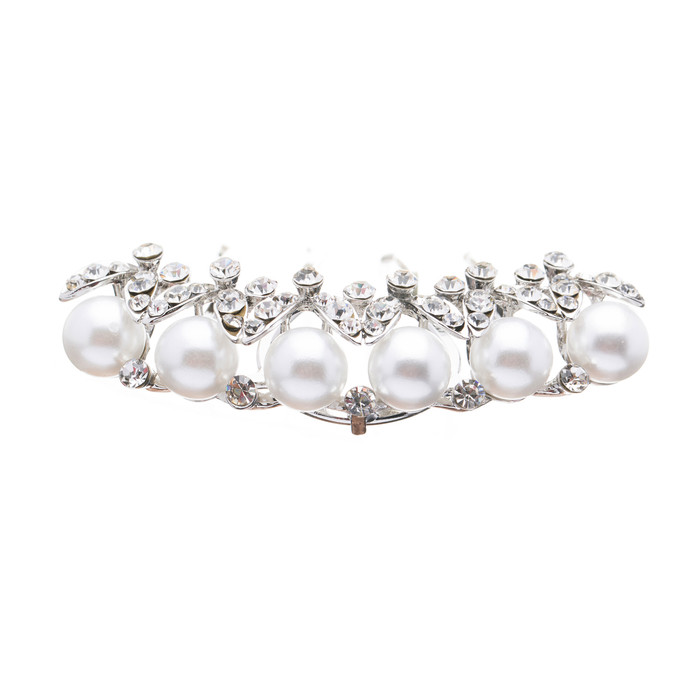 Bridal Wedding Jewelry Set Crystal Rhinestone Pearl Zigzag Dazzle Hair Comb Pin
