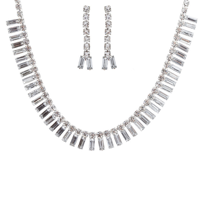 Bridal Wedding Jewelry Set Crystal Rhinestone Chic Trendy Sparkling Necklace