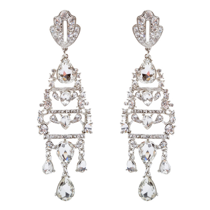 Bridal Wedding Jewelry Crystal Rhinestone Stunning Long Links Dangle Earrings