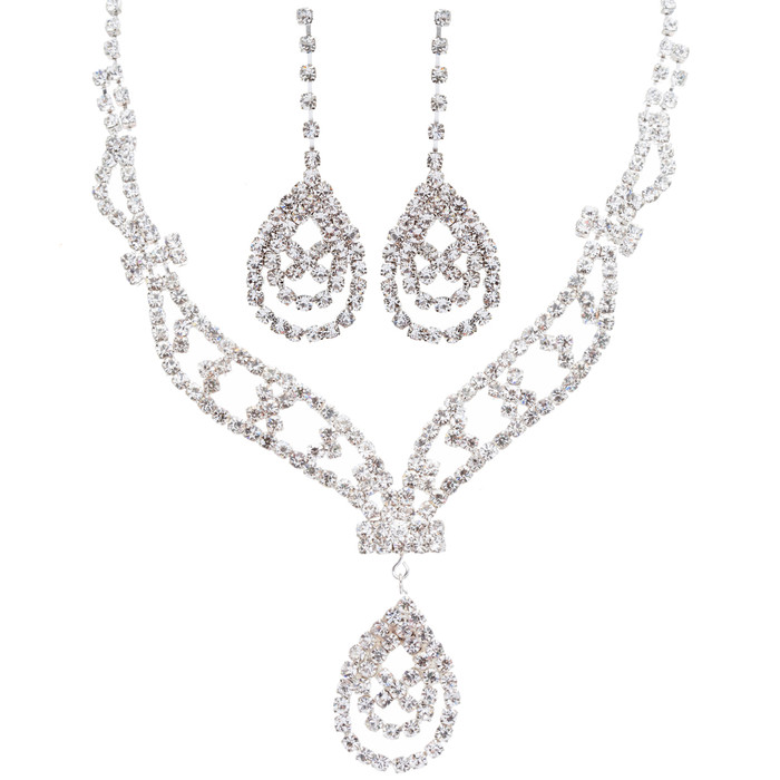 Bridal Wedding Jewelry Crystal Rhinestone Beautiful Multi Shapes Design Necklace