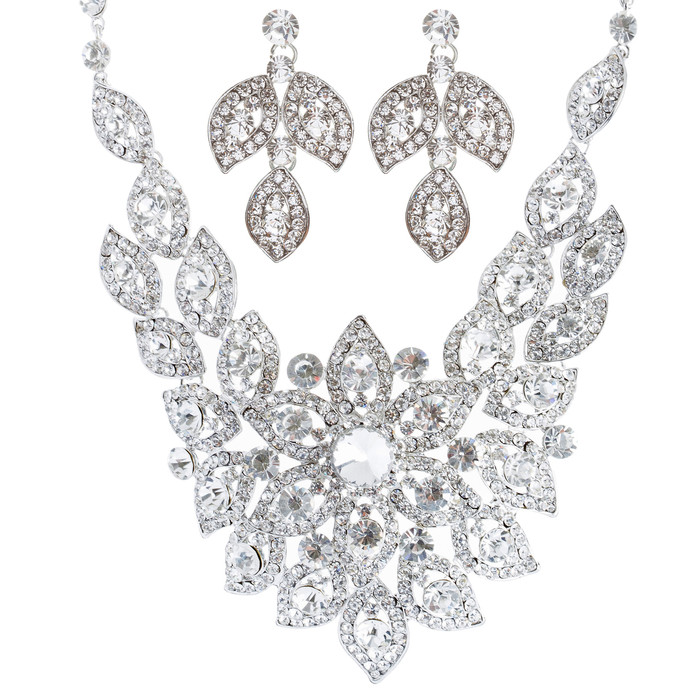 Bridal Wedding Jewelry Crystal Rhinestone Fantasic Stunning Necklace Silver