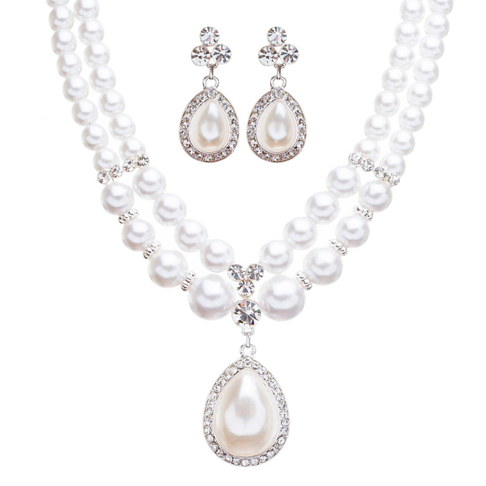 Bridal Wedding Jewelry Crystal Rhinestone Double Strand Pearl Classic Necklace