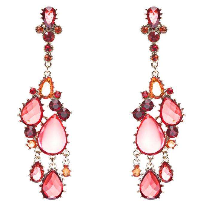 Fashion Chic Sparkle Crystal Rhinestone Teardrop Dangle Statement Earrings Red