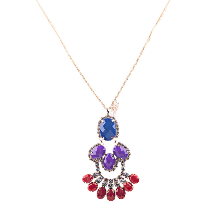 Beautiful Formica Crystal Pendant Statement Jewelry Fashion Necklace Gold Blue