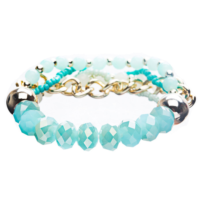 Gorgeous Elegant Classy Multi Strands Mixed Bead Design Stretch Bracelet Blue