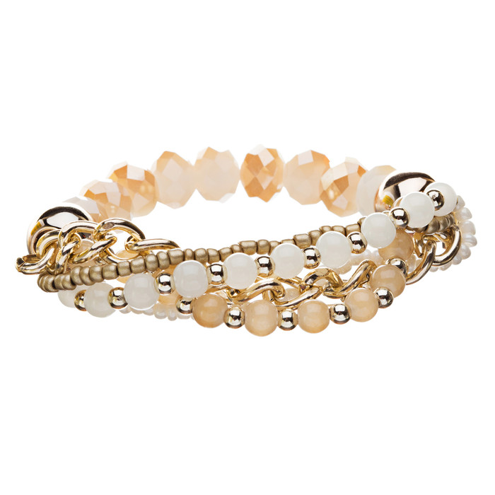 Gorgeous Elegant Classy Multi Strands Mixed Bead Design Stretch Bracelet Ivory