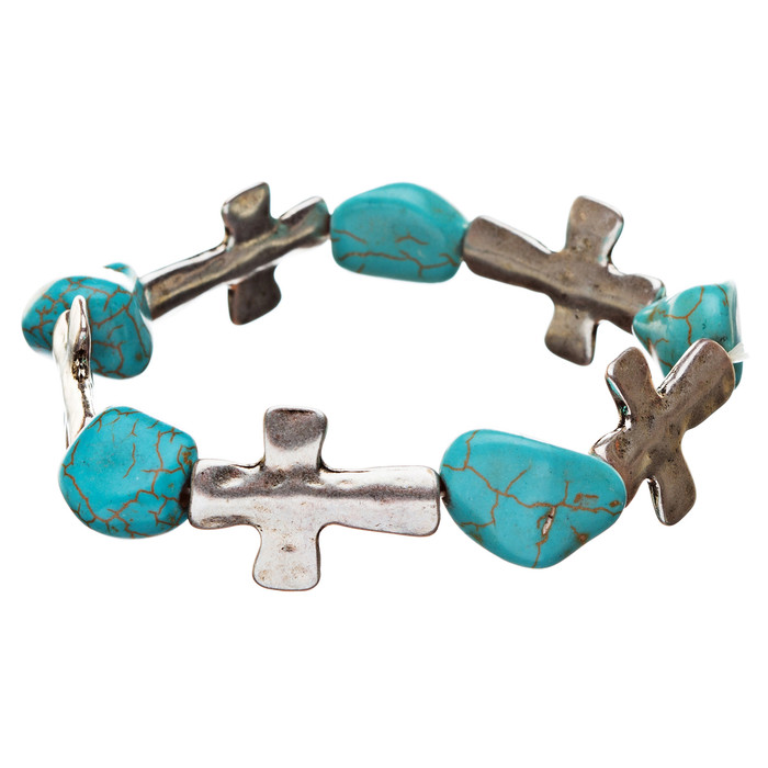 Cross Jewelry Turquoise Stone Charm Link Stretch Bracelet Antique Silver Blue