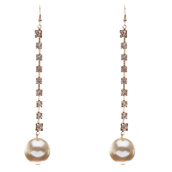 Bridal Wedding Jewelry Crystal Rhinestone Pearl Linear Drop Long Earrings Silver