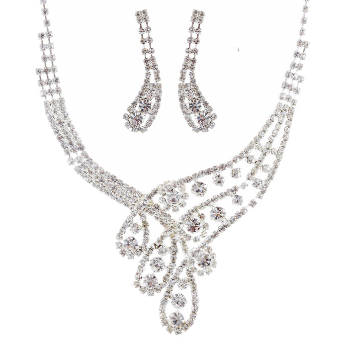 Bridal Wedding Jewelry Set Necklace Earring Crystal Rhinestone Classic Silver