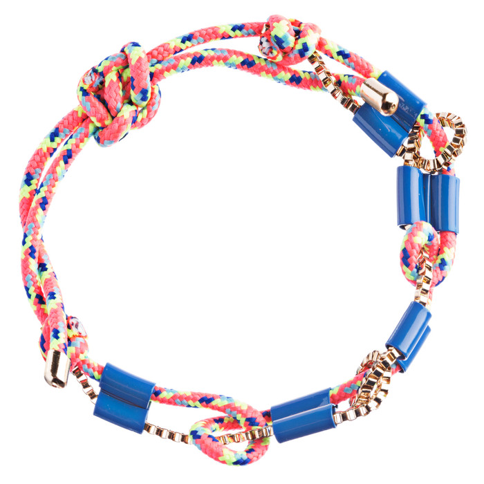 Trendy Stylish Woven Box Chain Beautiful Adjustable Fashion Bracelet B444 Blue