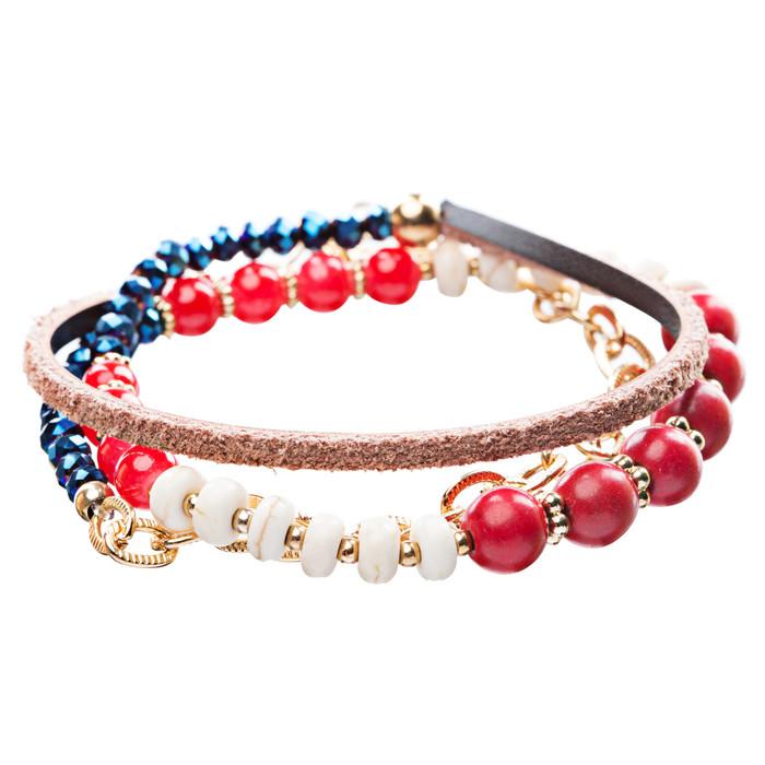 Beautiful Stone Bead Tribal Bohemian Statement Wrap Fashion Bracelet B447 Red