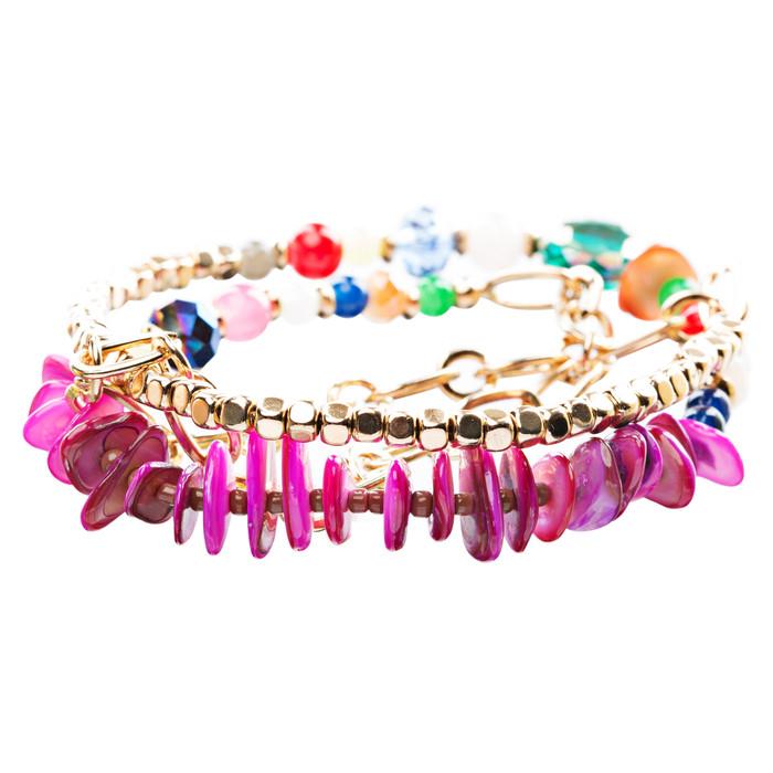 Beautiful Stone Bead Tribal Bohemian Statement Wrap Fashion Bracelet B448 Pink