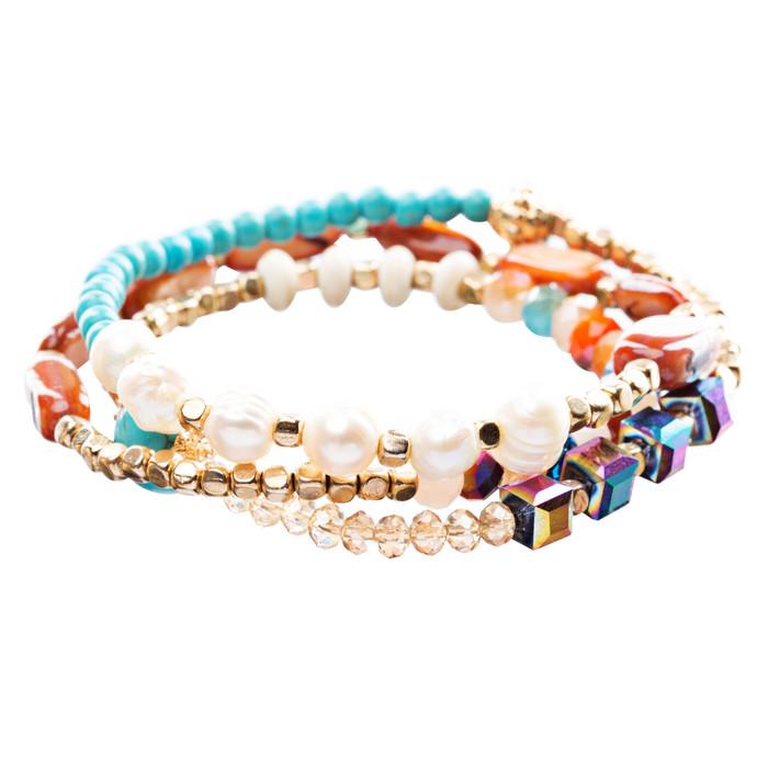 Beautiful Stone Bead Tribal Bohemian Statement Wrap Fashion Bracelet B453 Multi
