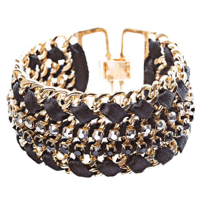Gorgeous Crystal Rhinestone Fabric Braided Latch Fashion Bracelet B455 Black