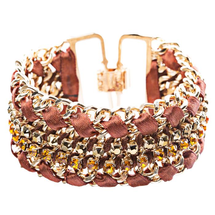 Gorgeous Crystal Rhinestone Fabric Braided Latch Fashion Bracelet B455 Brown