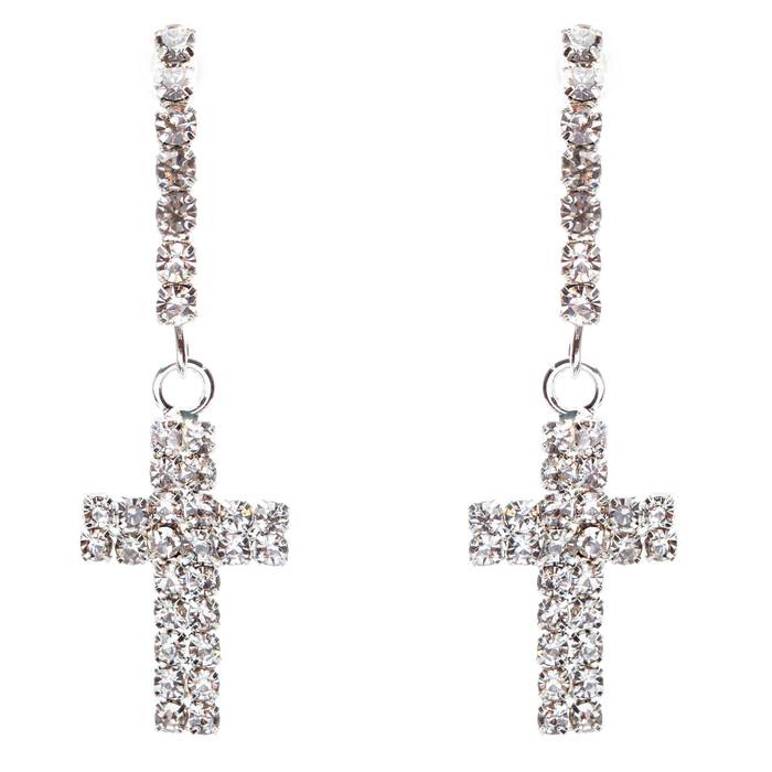 Simple Sparkle Crystal Rhinestone Cross Charm Dangle Fashion Earring E769 Silver