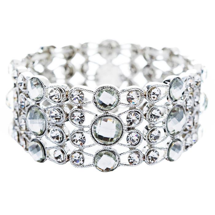 Bridal Wedding Jewelry Beautiful Chic Crystal Rhinestone Stretch Bracelet Silver