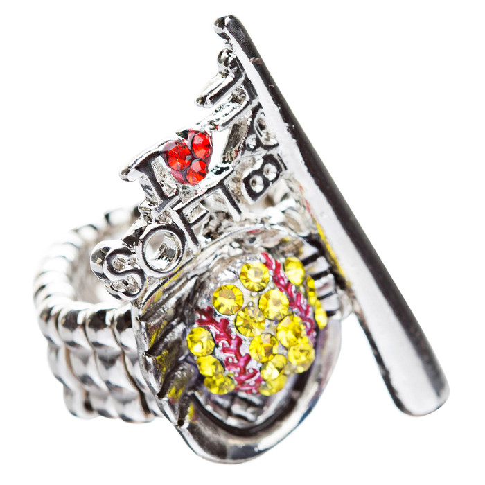 Sport Jewelry I Love Softball Crystal Rhinestone Fashion Stretch Ring Yellow