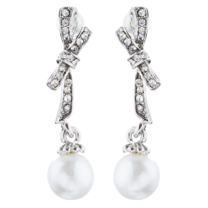 Bridal Wedding Jewelry Crystal Rhinestone Knot Pearl Dangle Earrings Silver
