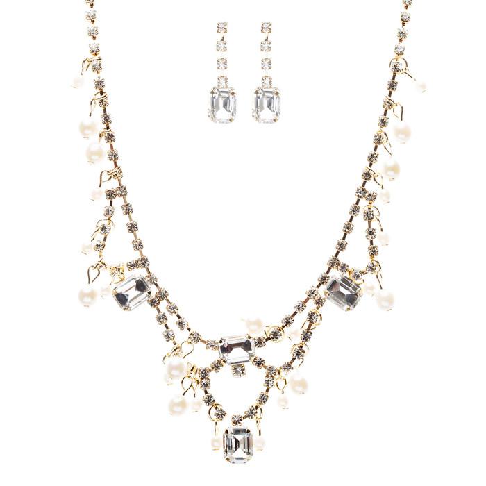 Bridal Wedding Jewelry Crystal Rhinestone Alluring Faux Pearl Necklace J581 Gold