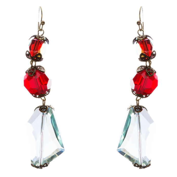 Contemporary Fashion Extraordinary Charms In Various Shapes Earrings E837 Red