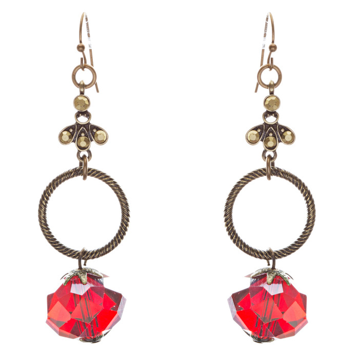 Contemporary Fashion Linear Open Circle Glass Beads Dangle Earrings E839 Red
