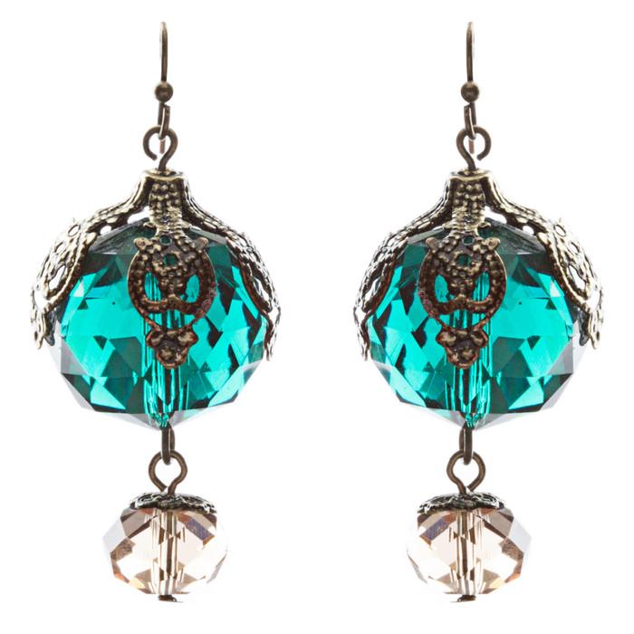 Contemporary Fashion Stunning Linear Glass Beads Dangle Earrings E840 Green