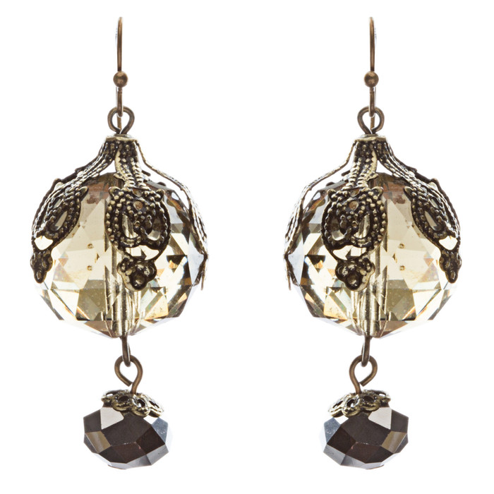 Contemporary Fashion Stunning Linear Glass Beads Dangle Earrings E840 Olive